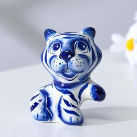 "Сувенир Тигр ""Лорд"", 9 см, гжель"