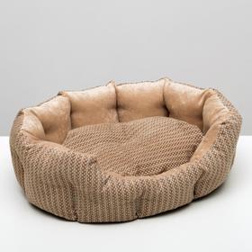 Лежанка для животных,мебельная ткань, холофайбер, 50 х  40 х 15 см, микс цветов