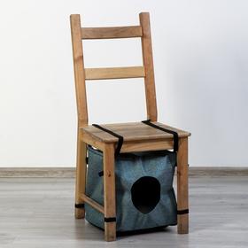 Домик под стул с меховой подушкой, мебелная ткань, 35 х 35 х 35 см, микс цветов