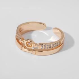 """Кольцо """"Тренд"""" двойное, цвет белый в золоте, безразмерное"""