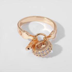 """Кольцо """"Тренд"""" с подвеской, цвет белый в золоте, размер 18"""