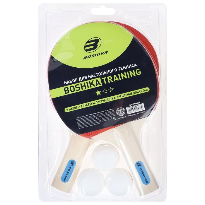 Набор для настольного тенниса BOSHIKA Training: 2 ракетки, 3 мяча, сетка, крепление - фото 7294372