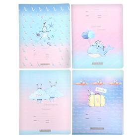 """Тетрадь 12 листов в клетку """"Белый пушистый - soft"""", обложка мелованный картон, блок офсет, МИКС"""