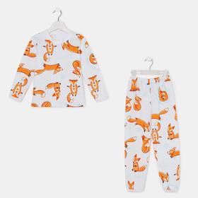 Пижама для девочки, цвет белый/лисички, рост 104-110 см