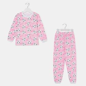 Пижама для девочки, цвет розовый/кошечки, рост 92 см