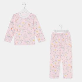 Пижама для девочки, цвет розовый/цветочек, рост 104-110 см