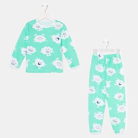 Пижама для девочки, цвет зелёный/облако, рост 104-110 см