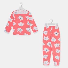 Пижама для девочки, цвет коралл/облако, рост 104-110 см