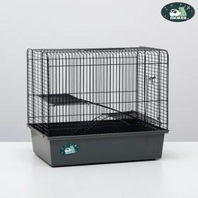 """Клетка для грызунов """"Пижон"""" №12, с 2-я этажами, без наполнения, 37,5 х 25,5 х 32,5 см, серая"""