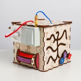 Бизикуб из древесных материалов, с электрикой №16