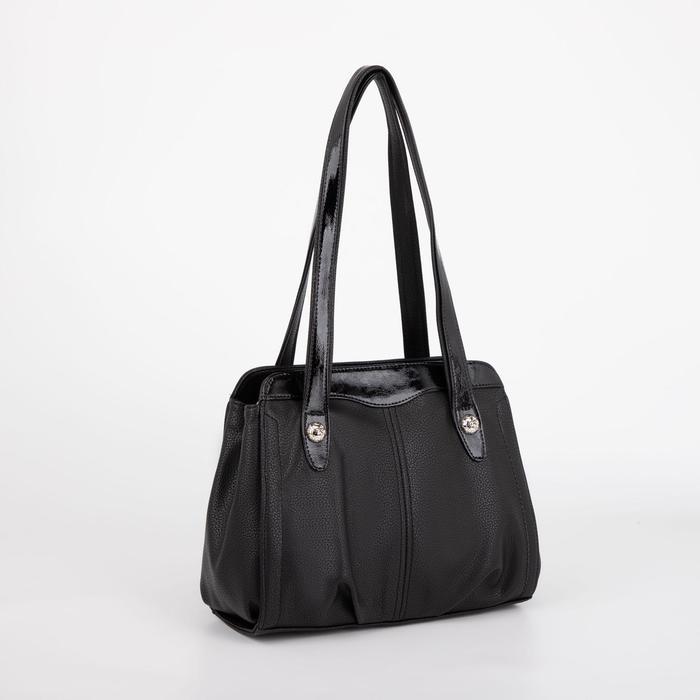 Сумка женская, отдел на молнии с перегородкой, наружный карман, цвет чёрный - фото 811617