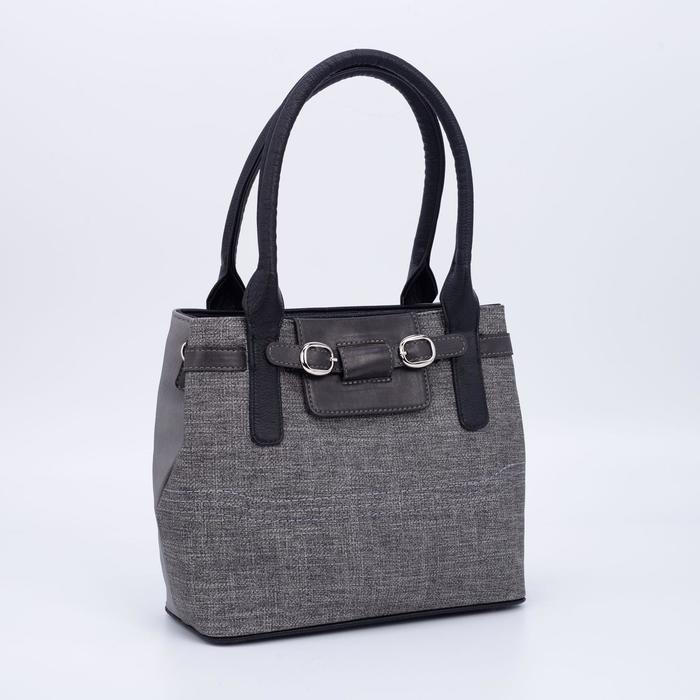 Сумка женская, 2 отдела на молниях, наружный карман, длинный ремень, цвет серый - фото 811725