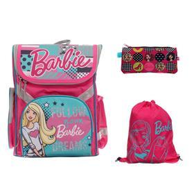 Ранец Стандарт Barbie, 35 х 26.5 х 13 см, с наполнением: мешок для обуви, пенал, в подарок кукла Barbie