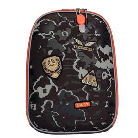 Рюкзак каркасный Seventeen, 39 x 28 x 15 см, эргономичная спинка, EVA, мигающ зиппер пуллер, кодовый замок, серый