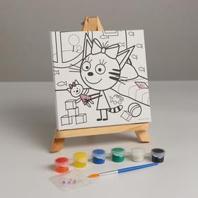 Canvas D / Mural 15 * 15 Three Cat Caramel with a toy with a glitter 296766
