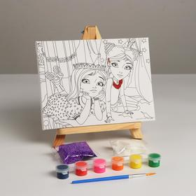 Canvas d / painting Tsarevna Daria and Sonya, with a glitter, 6 colors + brush 296772
