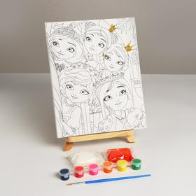 Canvas d / painting princes, with glitter, 6 colors + brush 296773