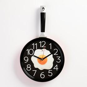 """Часы настенные """"Сковорода"""" 25х43см, корпус красный с черным, плавный ход"""