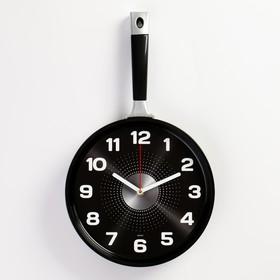 """Часы настенные """"Сковорода""""  25х43см, корпус черный, плавный ход"""
