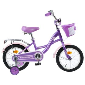 """Велосипед 14"""" Graffiti Premium Girl, цвет сиреневый/розовый"""