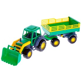 Трактор с прицепом №2 и ковшом «Мастер», цвета МИКС