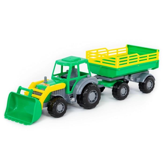 """Трактор с прицепом №2 и ковшом """"Мастер"""", цвета МИКС"""