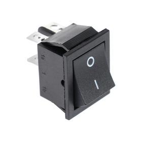 Клавишный выключатель, 250 В, 15 А, ON-OFF, 4c, черный