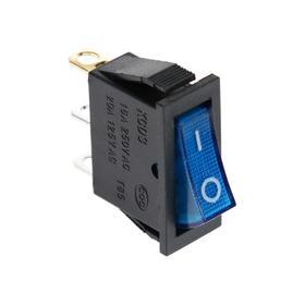 Клавишный выключатель, 250 В, 15 А, ON-OFF, 3с, синий, с подсветкой