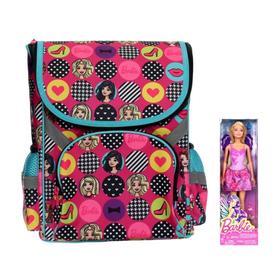 Ранец Стандарт Barbie 35 х 26.5 х 13, для девочки, усиленная спинка и дно, подарок-кукла