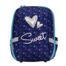 Рюкзак каркасный Seventeen, 37 х 29 х 17, для девочки EVA, пластиковые ножки, пайетки, Sweet