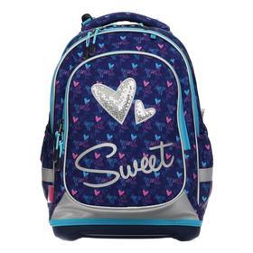 Рюкзак школьный с эргономичной спинкой Seventeen 40 х 28 х 17, для девочки, жесткое дно, пайетки Sweet