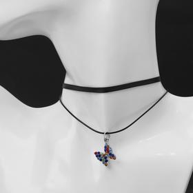 """Чокер """"Двойной"""" с нитью, бабочка, цветной в серебре ,L=40см"""