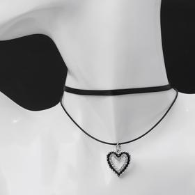 """Чокер """"Двойной"""" с нитью, сердечко, цвет бело-чёрный в серебре ,L=40см"""