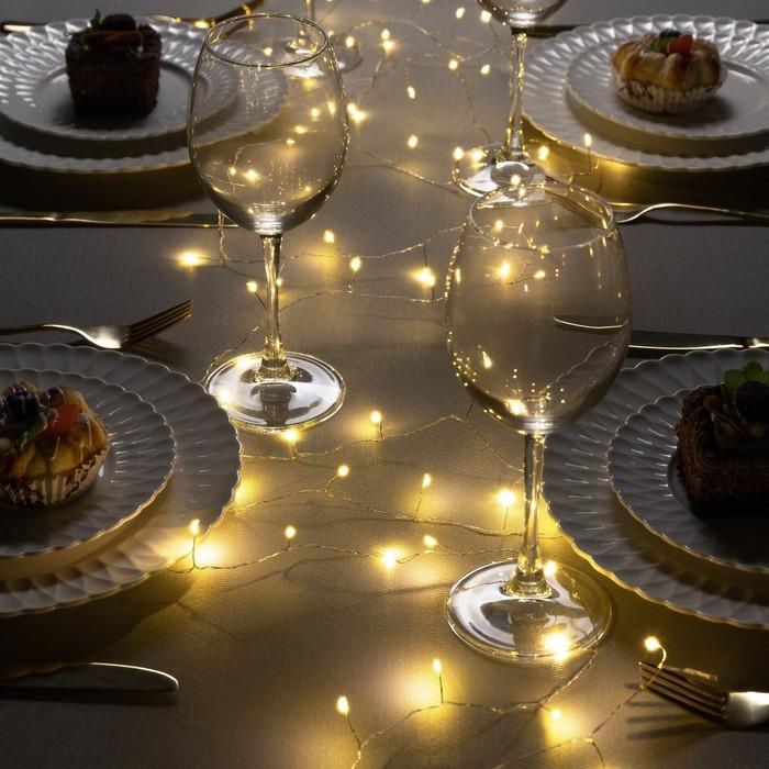 """Гирлянда """"Мишура"""" 10 м роса, IP20, серебристая нить, 200 LED, свечение тёплое белое, фиксинг, 12 В - фото 7326166"""