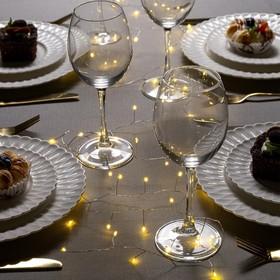 """Гирлянда """"Мишура"""" 2 м роса, IP20, серебристая нить, 50 LED, свечение тёплое белое, фиксинг, 2 х CR2032"""