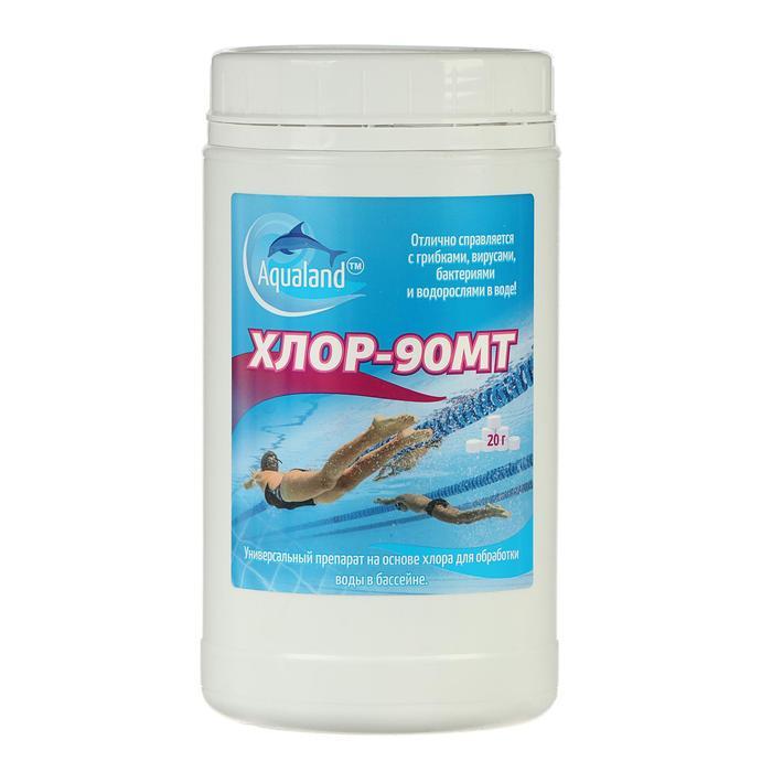 Дезинфицирующие средство Aqualand Хлор-90МТ, таблетки 20 г, 1 кг - фото 7326520