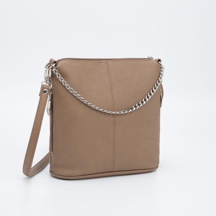 Сумка женская, отдел на молнии, наружный карман, цвет светло-коричневый - фото 814268