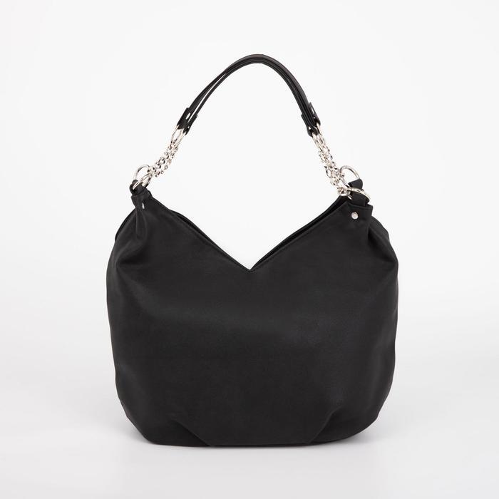 Сумка женская, отдел на молнии, наружный карман, цвет чёрный - фото 814368