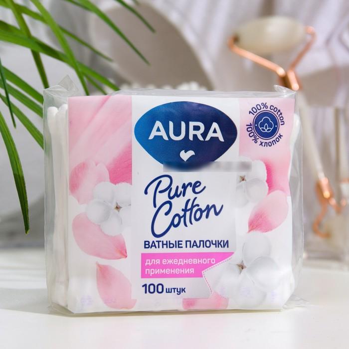 Ватные палочки Aura, п/э пакет, 100 шт.