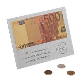 """Купюра в рамке 500 Евро """"Пусть денег будет столько…"""" в стеклянной рамке, цвет золотой"""