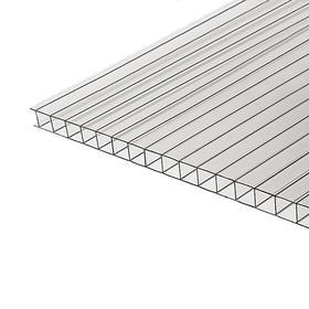 Сотовый поликарбонат 6 мм, 2,1 × 6 м, УФ, прозрачный
