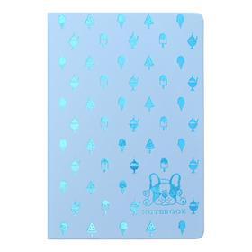 Записная книжка А5, 80 листов в клетку Dog&Ice cream, твёрдая обложка из искусственной кожи, тиснение фольгой, тонированный блок 70 г/м2