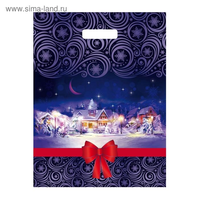 """Пакет """"Рождественская ночь"""" полиэтиленовый, с вырубной ручкой, 31х40 см, 60 мкм"""