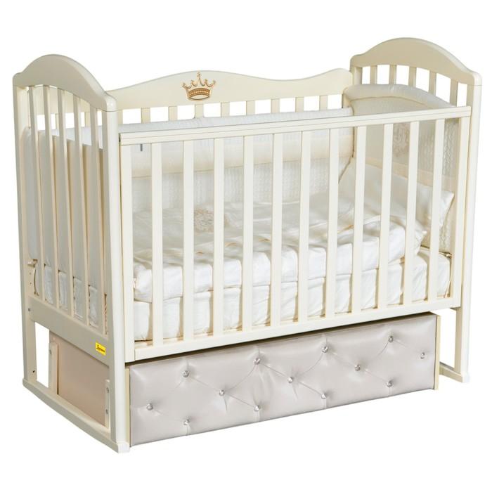 Кроватка Paola Premium, мягкий фасад, автостенка, ящик, маятник, цвет слоновая кость - фото 9020720