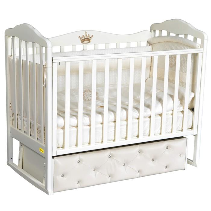 Кроватка Aprica Premium, мягкий фасад, автостенка, ящик, универсальный маятник, цвет белый - фото 9020724