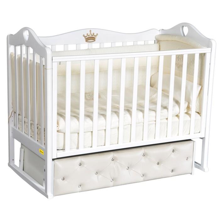 Кроватка Amelia Premium, мягкий фасад, автостенка, ящик, универсальный маятник, цвет белый - фото 9020727