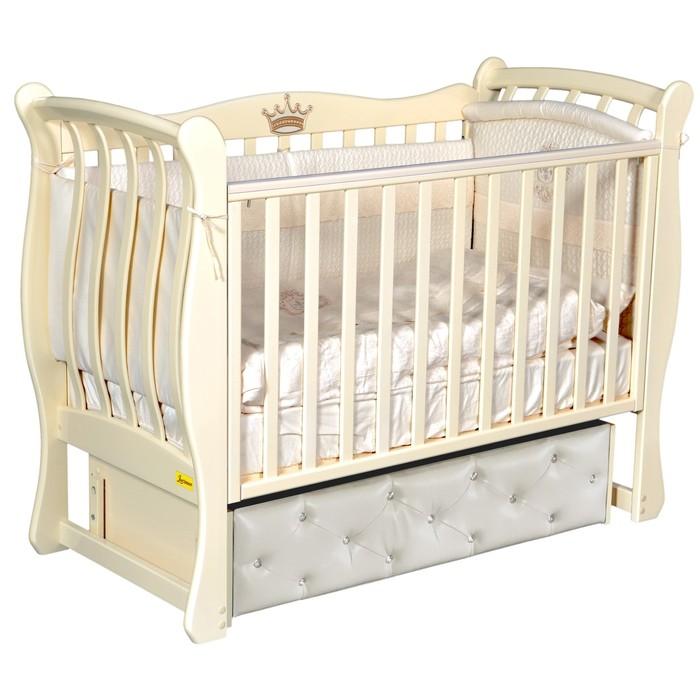 Кроватка Verona Elegance Premium, мягкий фасад, автостенка, маятник, цвет слоновая кость - фото 9020731