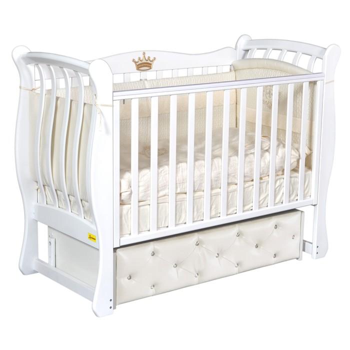 Кроватка Verona Elegance Premium, мягкий фасад, автостенка, ящик, маятник, цвет белый - фото 9020732