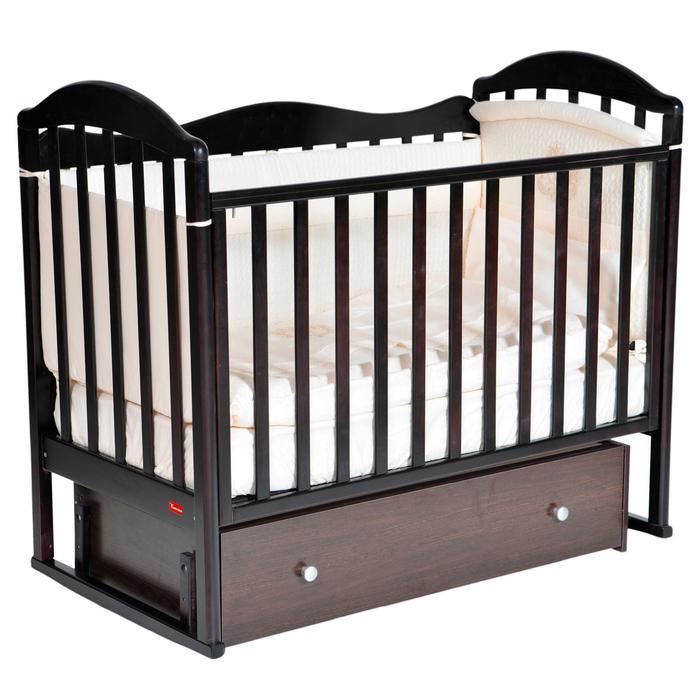 Кроватка Berta, автостенка, универсальный маятник, ящик, цвет шоколад - фото 9020736