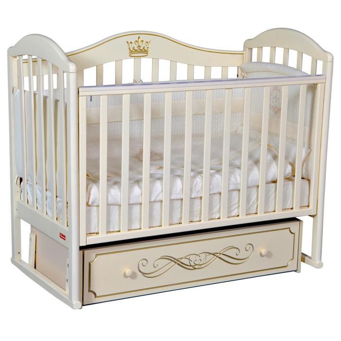 Кроватка Berta Elite, универсальный маятник, фигурная спинка, ящик, цвет слоновая кость - фото 9020737